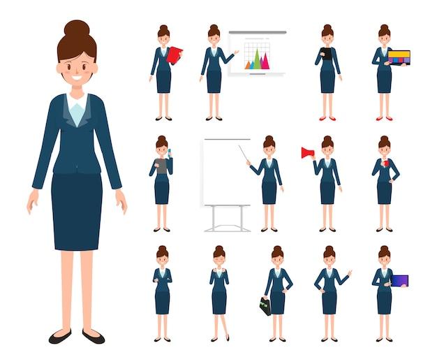 Caractère de femme d'affaires au travail.