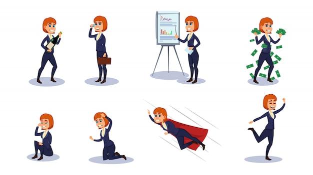 Caractère de femme d'affaires dans différentes positions.