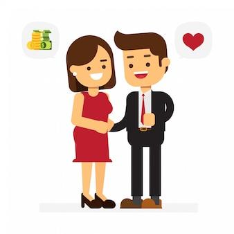 Caractère de la femme aime l'homme pour l'argent. concept de la saint-valentin