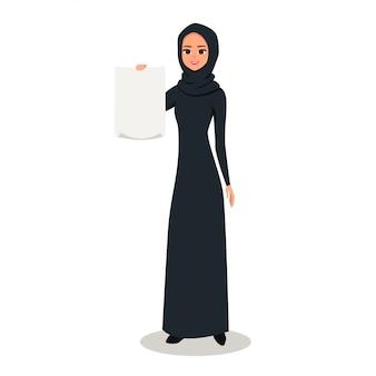 Caractère de femme arabe détient une feuille de papier vierge