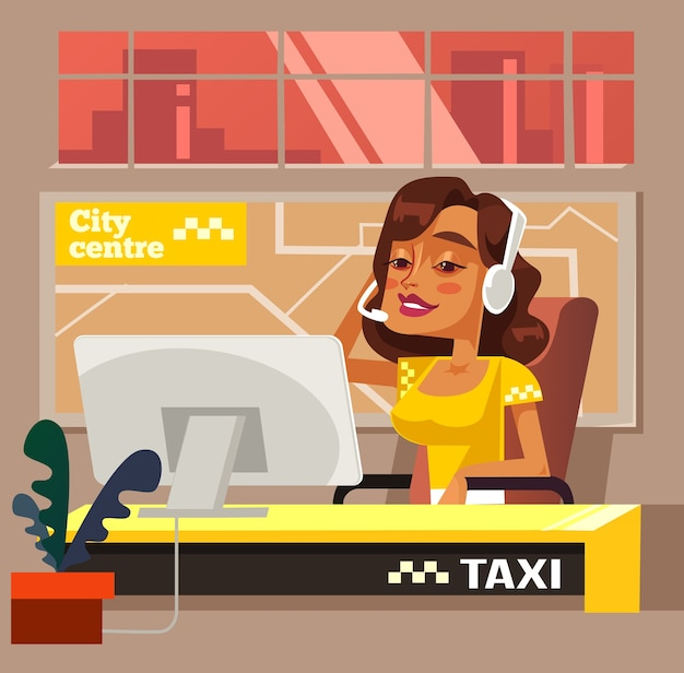 Caractère de femme de bureau de centre d'appel de taxi.