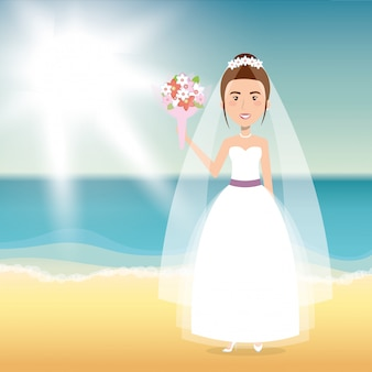 Caractère de femme juste mariée sur la plage