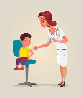 Caractère de femme médecin faisant la vaccination