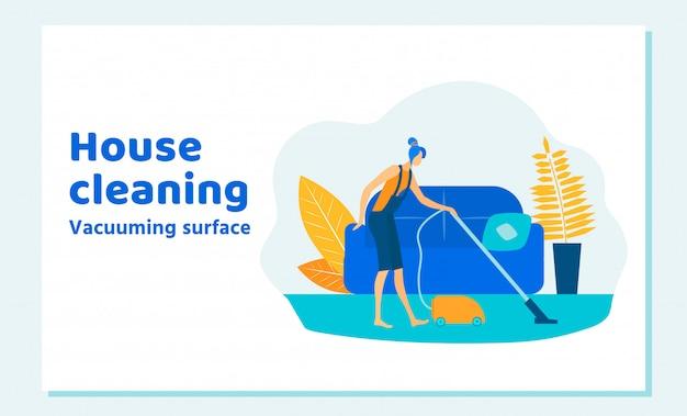 Caractère de femme nettoyant la maison le week-end. fonctions