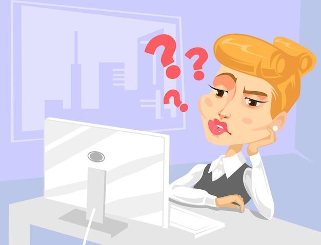 Caractère de femme secrétaire paresseux avec beaucoup de questions
