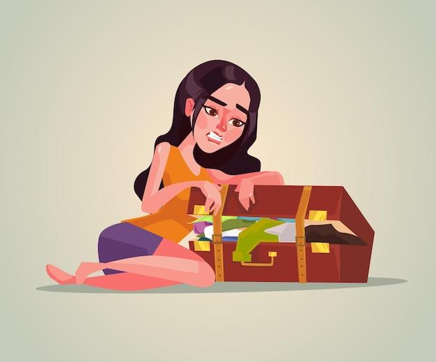 Caractère de femme souriante heureuse ramasser la valise