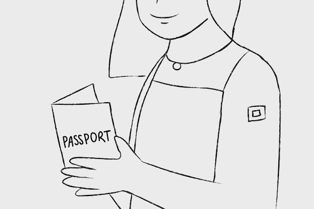 Caractère de femme vecteur passeport vaccination dessinés à la main
