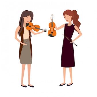Caractère des femmes avec instruments de musique