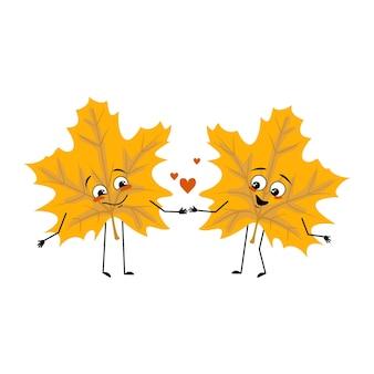 Caractère de feuille d'érable avec des émotions d'amour sourire visage bras et jambes joyeuse plante forestière en automne jaune ...