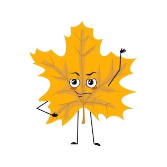 Caractère de feuille d'érable avec les émotions d'un héros, un visage courageux, des bras et des jambes. plante forestière gaie en couleur jaune d'automne