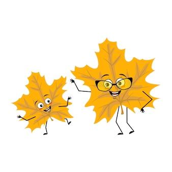 Caractère de feuille d'érable avec des émotions joyeuses sourire visage yeux heureux bras et jambes joyeuse plante forestière ...