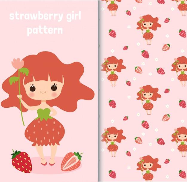 Caractère de fille aux fraises et modèle sans couture