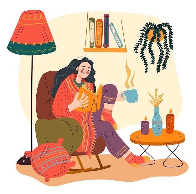 Caractère de fille de femme s'asseyant dans la maison de sofa et livre de lecture