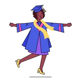 Caractère de fille de graduation, étudiant de graduation scolaire détiennent un diplôme en chapeau sur blanc, illustration. achèvement de l'enseignement secondaire.