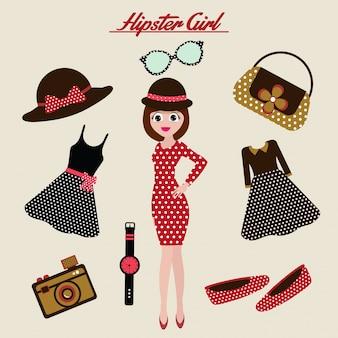 Caractère de fille hipster avec des éléments de hipster et des icônes.