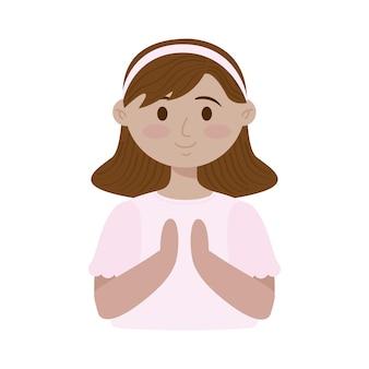Caractère de fille mignonne de première communion