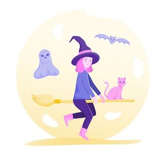 Caractère de fille de sorcière sur halloween.