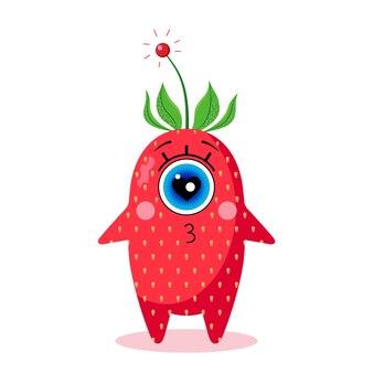 Caractère de fraise borgne. isolé sur fond blanc. amour. fabriqué dans un vecteur. pour les textiles pour enfants, les imprimés, les couvertures, les emballages, les souvenirs