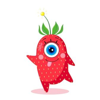 Caractère de fraise borgne. isolé sur fond blanc. heureux. fabriqué dans un vecteur. pour les textiles pour enfants, les imprimés, les couvertures, les emballages, les souvenirs