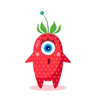 Caractère de fraise borgne. isolé sur fond blanc. surprendre. fabriqué dans un vecteur. pour les textiles pour enfants, les imprimés, les couvertures, les emballages, les souvenirs