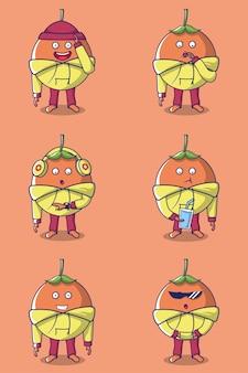 Caractère de fruits orange mignon