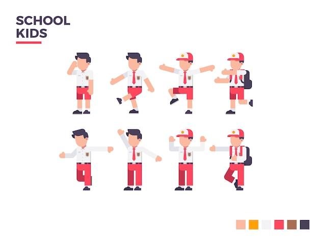 Caractère de gamin d'école. caractère de pose différent vector illustration plat.