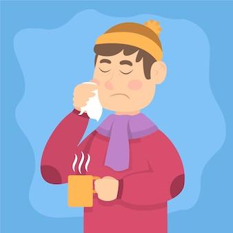 Caractère de garçon ayant un rhume