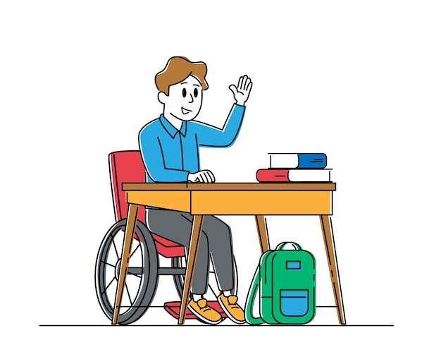 Caractère de garçon handicapé en fauteuil roulant assis au bureau