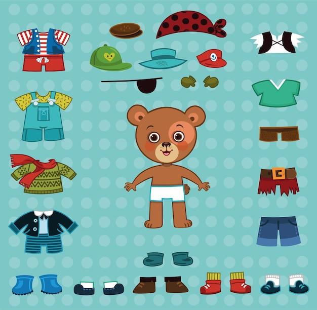 Caractère de garçon d'ours de vecteur avec ses costumes pour habiller des jeux de poupée de papier