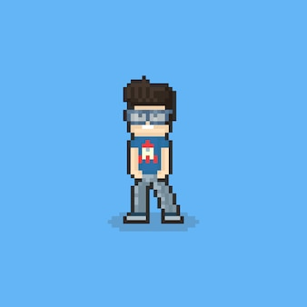 Caractère de gars nerd pixel. 8 bits.