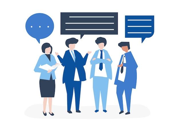 Caractère des gens d'affaires ayant une discussion