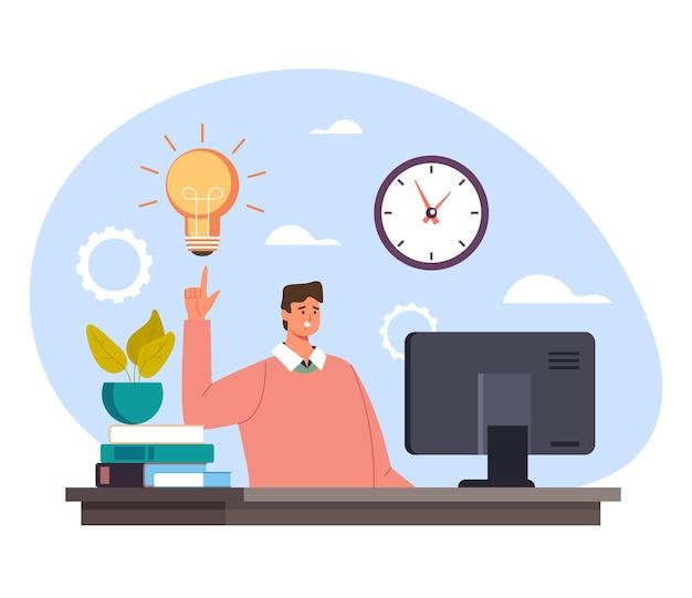 Caractère de gestionnaire de travailleur de bureau homme d'affaires ayant une bonne idée et tenant le doigt vers le haut. démarrez un nouveau concept d'entreprise nouvelle idée.