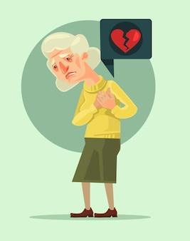 Caractère de grand-mère avec crise cardiaque