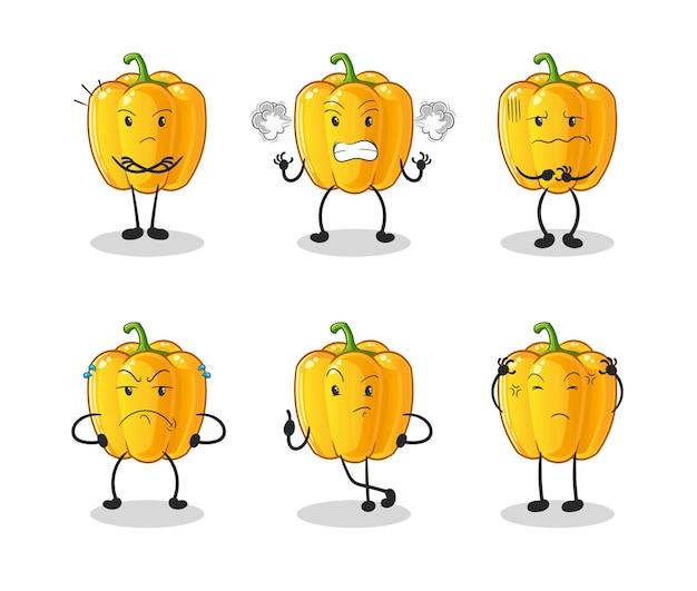 Caractère de groupe en colère de poivron jaune. mascotte de dessin animé
