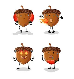 Caractère de groupe épicé de gland. mascotte de dessin animé