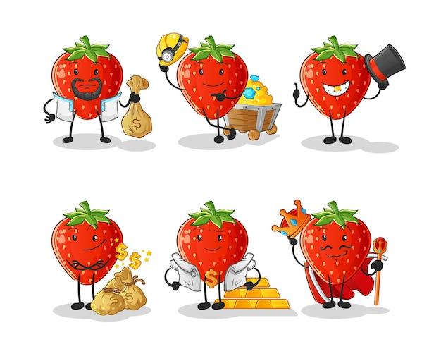 Caractère de groupe riche en fraises. mascotte de dessin animé