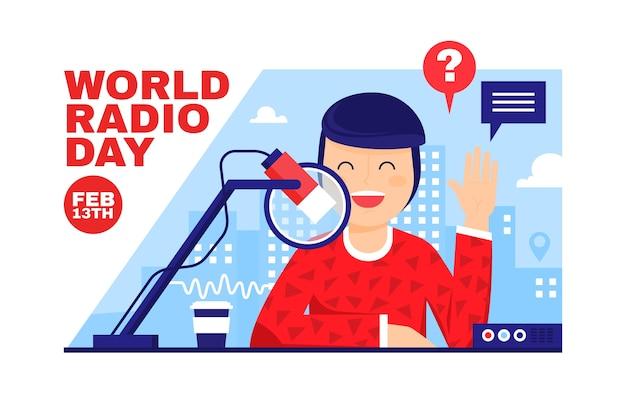Caractère heureux de la journée mondiale de la radio design plat
