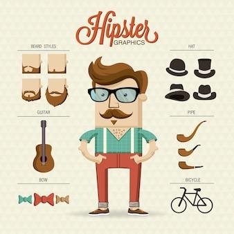 Caractère hipster avec des éléments