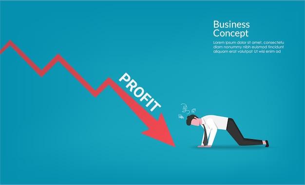 Caractère d'homme d'affaires choquant vers le bas de la crise financière financière flèche rouge. illustration de symbole de métaphore commerciale