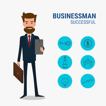Caractère de l'homme d'affaires avec le concept des icônes réussies.
