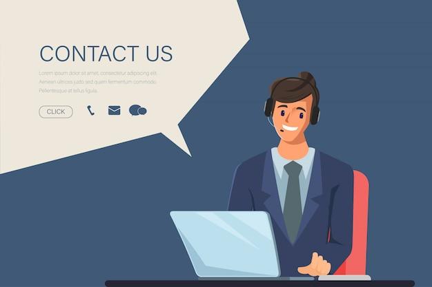 Caractère d'homme d'affaires dans l'emploi du centre d'appels. scène d'animation pour le graphique de mouvement. contactez-nous lien sur les informations du site.