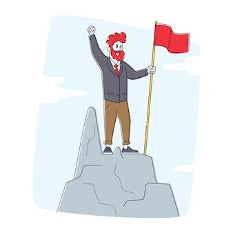 Caractère d'homme d'affaires avec drapeau rouge agitant la main debout au sommet du sommet de la montagne