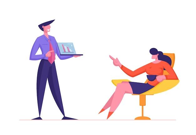 Caractère d'homme d'affaires faisant la présentation financière montrant un ordinateur portable avec l'analyse des données