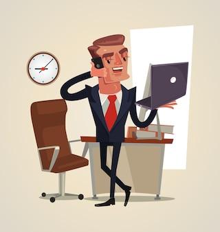 Caractère d'homme d'affaires heureux souriant avec succès parlant sur l'illustration de téléphone