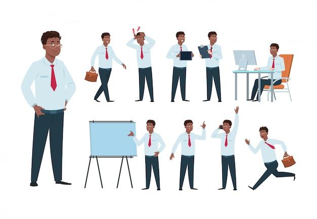 Caractère d'homme d'affaires. homme de travailleur professionnel de bureau afro-américain, personne de succès dans l'activité commerciale. ensemble d'employés de dessin animé
