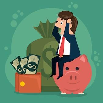 Caractère de l'homme d'affaires avec des icônes de l'économie