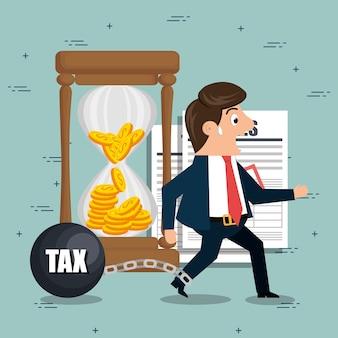 Caractère de l'homme d'affaires avec des icônes de taxes