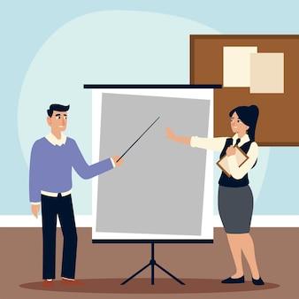 Caractère d'homme d'affaires avec illustration de stratégie de tableau de présentation