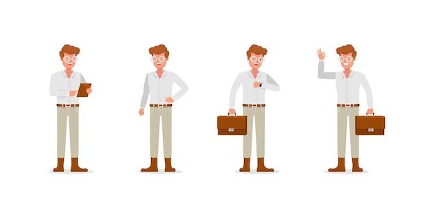 Caractère d'homme d'affaires. présentation en différentes actions.
