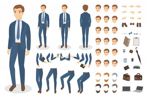 Caractère d'homme d'affaires serti de poses et d'émotions.